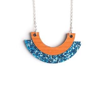 Aqua Blue Sparkly Pendant Necklace -  Glitter Wooden Necklace - Laser Cut Acrylic Necklace - Wooden Necklace