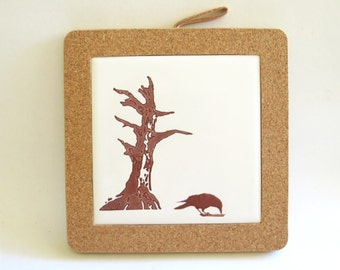 Crow and Old Dead Tree Coaster Home Decor Hostess Gift Woodland Raven Tile