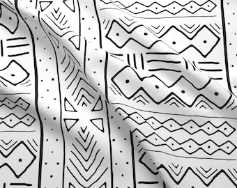 Tribal Fabric - Mudcloth In Black On White By Domesticate - African Cotton & Upholstery Fabric By The Yard With Spoonflower