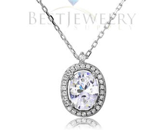 Sterling Silver .925 Rhodium Plated Oval Halo CZ Necklace