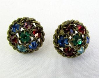 Vintage 1930s Earrings | MultiColored Rhinestones | Czechoslov | Screw Backs | Mardi Gras | Art Deco