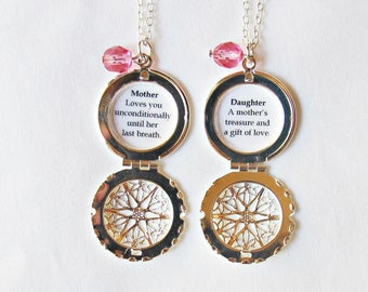 Mother Daughter Necklace Set - Quote Locket Silver Filigree Customized For Women - Jewelry Jewellery Mother's Day Gift Her Personalised