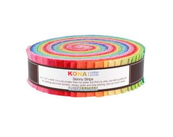 "Robert Kaufman Kona Cotton Solids Bright Skinny Strips 1.5"" Precut Cotton Fabric Quilting Roll SS-106-41"