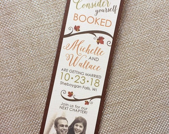Come for the Love Photo Autumn Fall Bookmark Painted Maple Leaf Leaves Branches Sepia Brown Orange Pumpkin Wedding Save the Date... SAMPLE