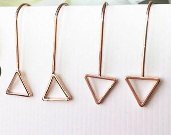 Rose Gold Drop Earrings, Gold Dangle Earrings, Bar Drop Earrings, Tiny Drop Earrings, Gold Line, Triangle Earrings, Minimalist,Gift for her