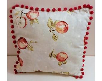 Handmade Cushion with Pom Pom Trim