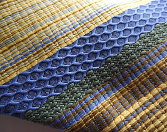 Mens Tie WIDE retro Mod Stripe Print Textured Blue Yellow Green
