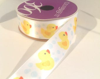 Yellow Ducks Duckies on White Ribbon, Easter Ribbon, Spring Ribbon