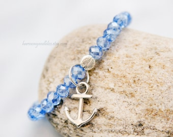 Anchor bracelet, anchor jewelry, nautical jewelry, anchor charm, anchor charm bracelet, blue bead bracelet, gift for teen girl, mother's day