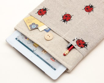 30% OFF SALE Case for iPad Air 2 with ladybirds pocket and button closure. Padded Cover for iPad Air 1 2. iPad Air Sleeve Bag.
