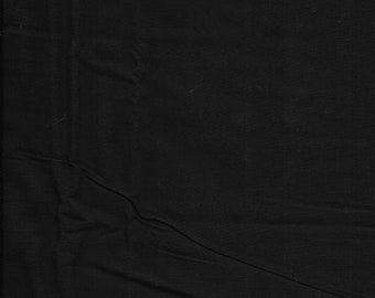 "New Black Solid on 100% Cotton Fabric 16"" x 34"" Piece"