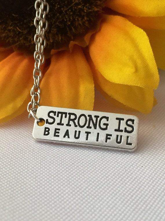 Crossfit Jewelry, Running Fitness Necklace, Weightlifting Bodybuilding Jewelry, Strong is Beautiful Word Charm, Motivational Fitness Gift