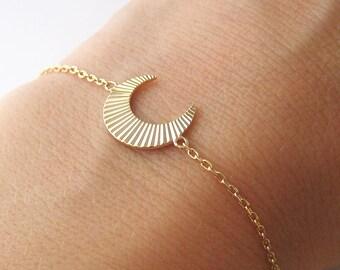 Bracelet Horn Crescent streaked gold 750/000 femininity symbol 18 k