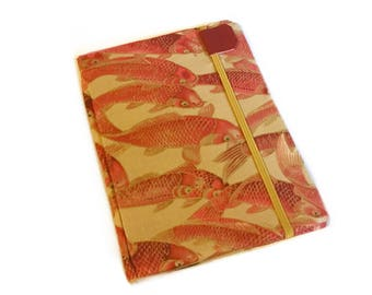 Kindle Paperwhite Cover - Burning Embers Koi - Ready to Ship -  orange and khaki fish print eReader case - also fits Kindle Touch