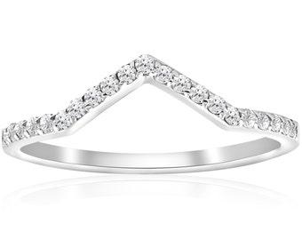 V Shape Midi  Diamond Ring Diamond Guard Wedding Ring Womens Anniversary Notched Band 10Karat White Gold Antique Hand Engraved Unique Ring