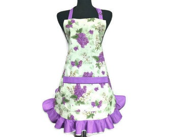 Lilac Apron for women ,  Green with Purple Retro Style Ruffle / Purple Floral Apron / Apron with purple flowers / Aprons for women