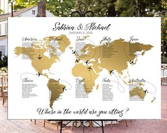 Map seating chart etsy world map seating chart plane travel theme gold wedding or party printable gold world map gumiabroncs Choice Image
