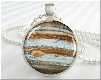 Jupiter Space Pendant, Resin Charm, Jupiter Jovian Planet Necklace, Resin Jewelry, Round Silver, Space Geek Gift, Planet Charm 382RS