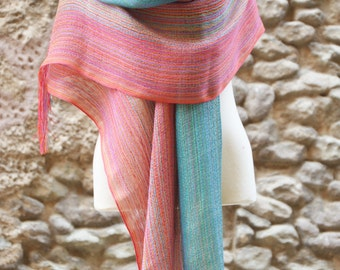 Shawl Scarf Linen, Cotton and Silver Thread loom weaving