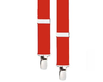 """KIDS SUSPENDERS - RED - 3 Sizes for Better Fit - 1"""" Width Elastic"""