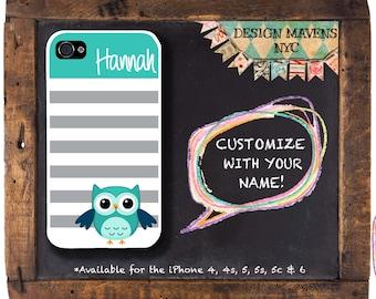 Cute Owl iPhone Case, Personalized iPhone Case, Striped Phone Case, iPhone 4, iPhone 5, 5s, 5c, iPhone 6, 6s, 6 Plus, SE, iPhone 7, 7 Plus