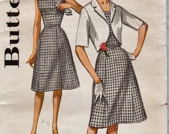 Butterick 2255 / Vintage 60s Sewing Pattern / Dress And Jacket / Bust 41