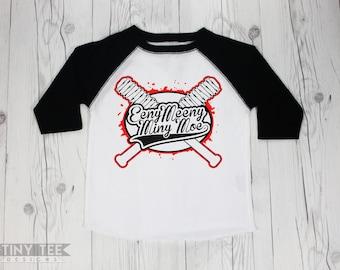 The Walking Dead Lucille Bat Eeny Meeny Miny Moe Toddler and Baby Raglan Baseball Tee