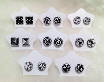 Earring Black & White  3 D  handpaint  in Thailand (8 pair)
