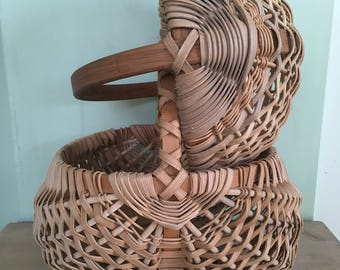 Vintage Appalachian Hand Crafted Woven Splint Buttock Baskets Gathering Baskets Primitive Vintage Decor Farmhouse Chic Signed