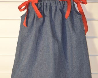 Denim GinghamTrim PIllowcase Dress