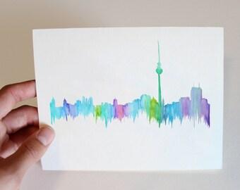 City Skyline Notecard-Berlin Germany, blank inside