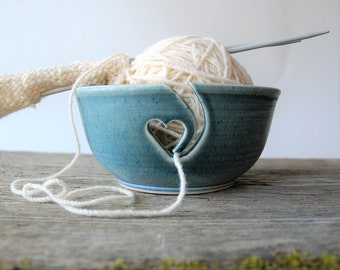 ceramic yarn bowl, heart crochet bowl,  pottery wool bowl, wheelthrown yarn bowl, knitter's bowl, unique yarn bowl