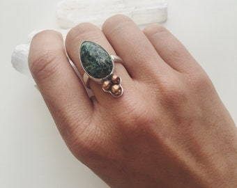 African Turquoise Teardrop Ring // Size 6.75 - 7