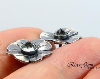 Green Amethyst Earring Studs, Flower Stud Earrings, Amethyst Earrings, Gemstone Earrings Jewelry, Botanical Jewelry