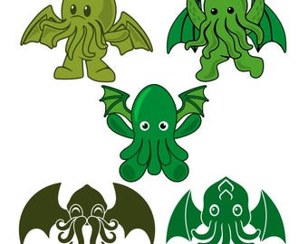 Cthulhu Monster Cuttable Design PNG DXF SVG & eps File Silhouette Designs Cameo