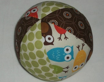 Bermuda Urban Zoologie Owls Fabric Boutique Ball Rattle Toy