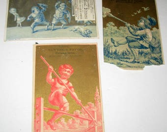 3 Antique Victorian Trade Cards with Children Playing