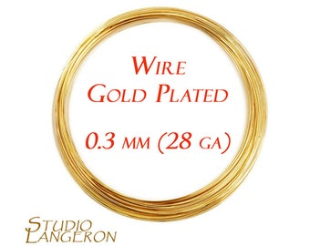 28 gauge wire etsy 45 meters 15 feet gold plated wire 03 mm greentooth Choice Image