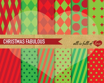 Christmas Background Patterns Harlequin Red Green Papers Xmas Digital Paper Christmas Digital Scrapbook Christmas Geometric Pattern