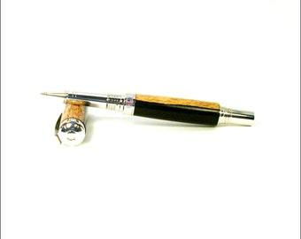 Handmade Rhodium Rollerball Pen. Unique Writing Instrument. Fine Rollerball Pen. Wooden Pen Gift. Custom Made Pens.