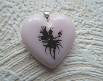 Pink Fairy Fused Glass Heart  Pendant  Handmade