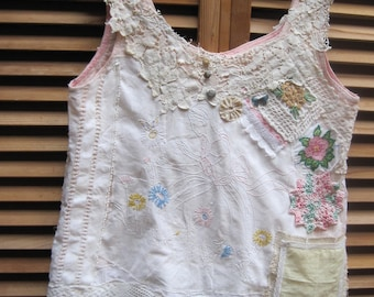 my bonny LADY IN GARDEN *  Antique Embroidery - Vintage Altered  Linens alternative wedding Eclectic Artisan Wearable Folk Art Collage Tunic