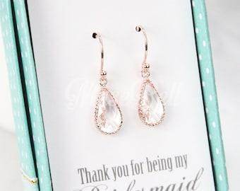 Rose gold clear teardrop earrings, Rose gold earrings, Rose gold bridal earrings, Wedding rose gold earrings, Rose gold jewelry