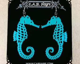READY MADE SALE - Seahorse Earrings - Turquoise Seahorse - Laser Cut Acrylic Seahorse Earrings