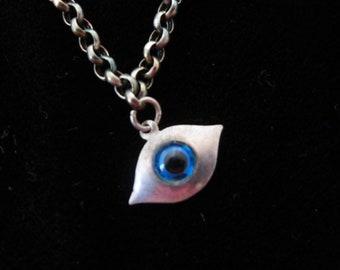 Antique RARE Glass Eye Talisman Charm Necklace