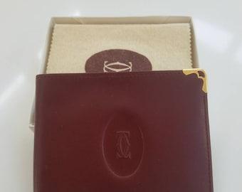 Vintage Must de Cartier Men's bifold bordeaux wallet NIB