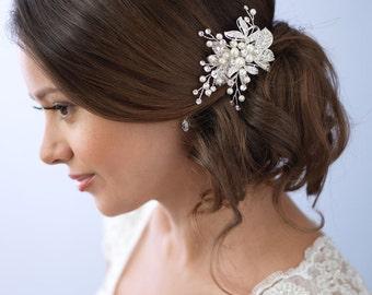Pearl Hair Clip, Rhinestone Bridal Hair Clip, Floral Wedding Hair Clip, Bridal Hair Comb, Hair Clip for Wedding, Bridal Headpiece ~TC-2283