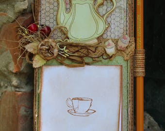 Fridge magnet, Magnet Notepad, cardboard magnet, magnet vintage style, Valentine's Day, mother's Day gift, cinnamon,  coffee beans