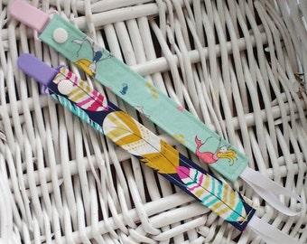 Pacifier Clip Set of 2 - Paci Clip - Purple, Teal, Boho Feathers, Tribal, Mermaids, Baby Girl, Baby Shower Gift, Binky Clips, Dummy Clips