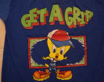 Vintage 90's Looney Tunes Tweety Bird Get A Grip Blue T Shirt Size XL